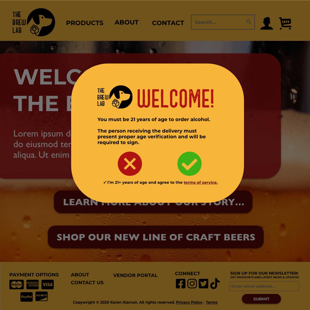 The Brew Lab Age Verification Pop-Up