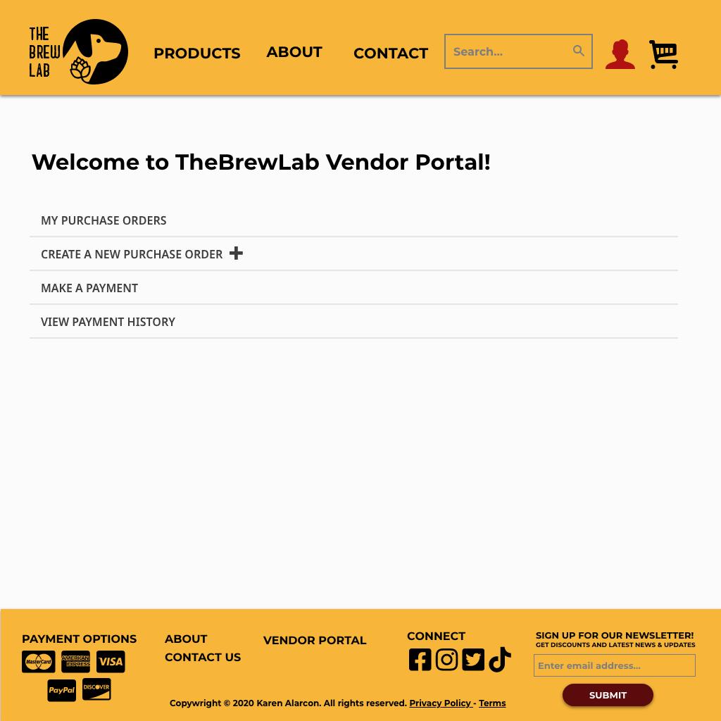 TBL Vendor Portal Homepage