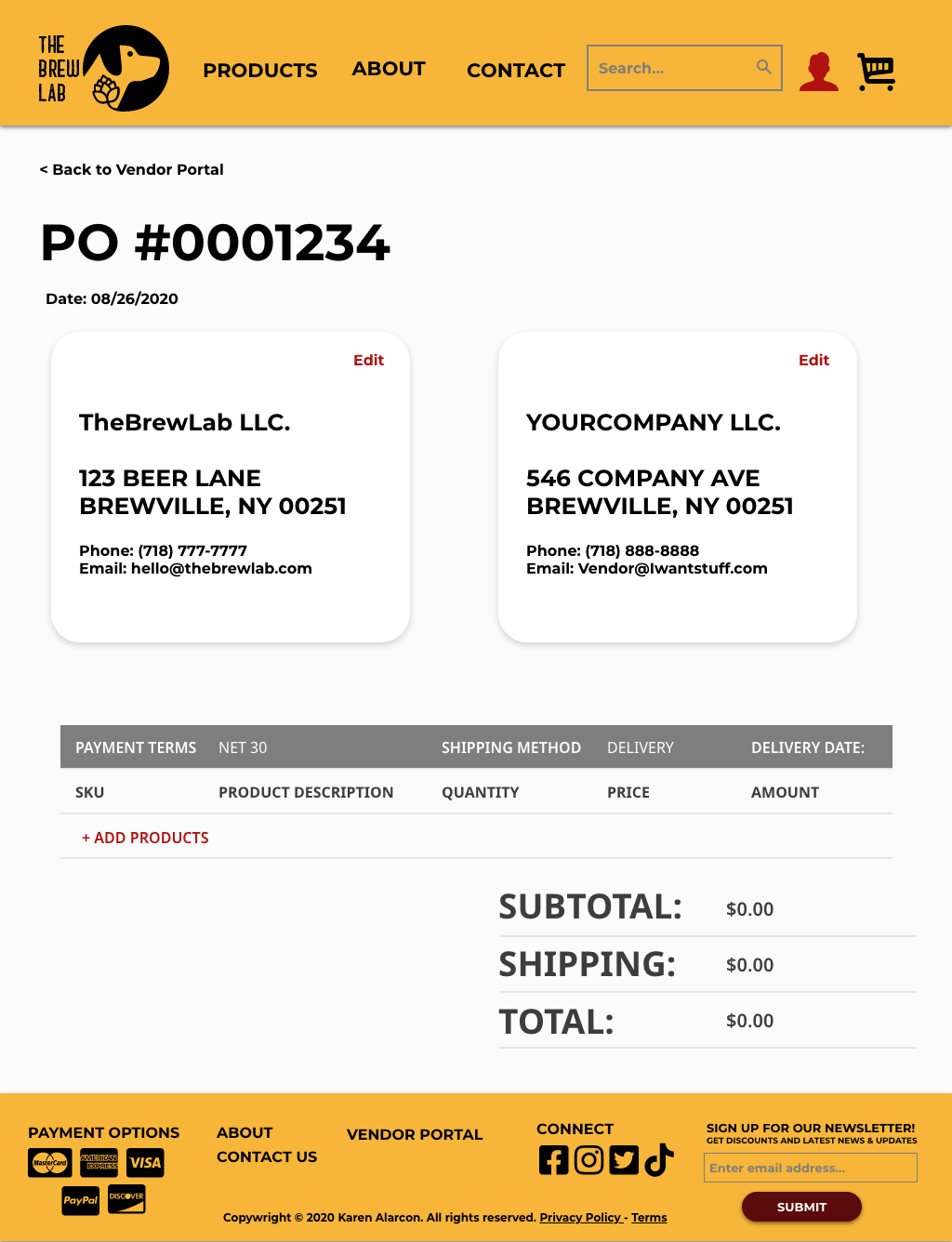 TBL Purchase Order Empty