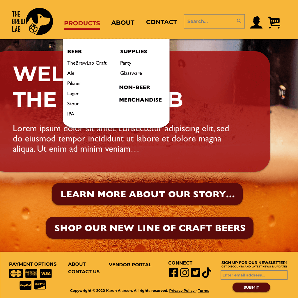 The Brew Lab Homepage Products Dropdown Menu