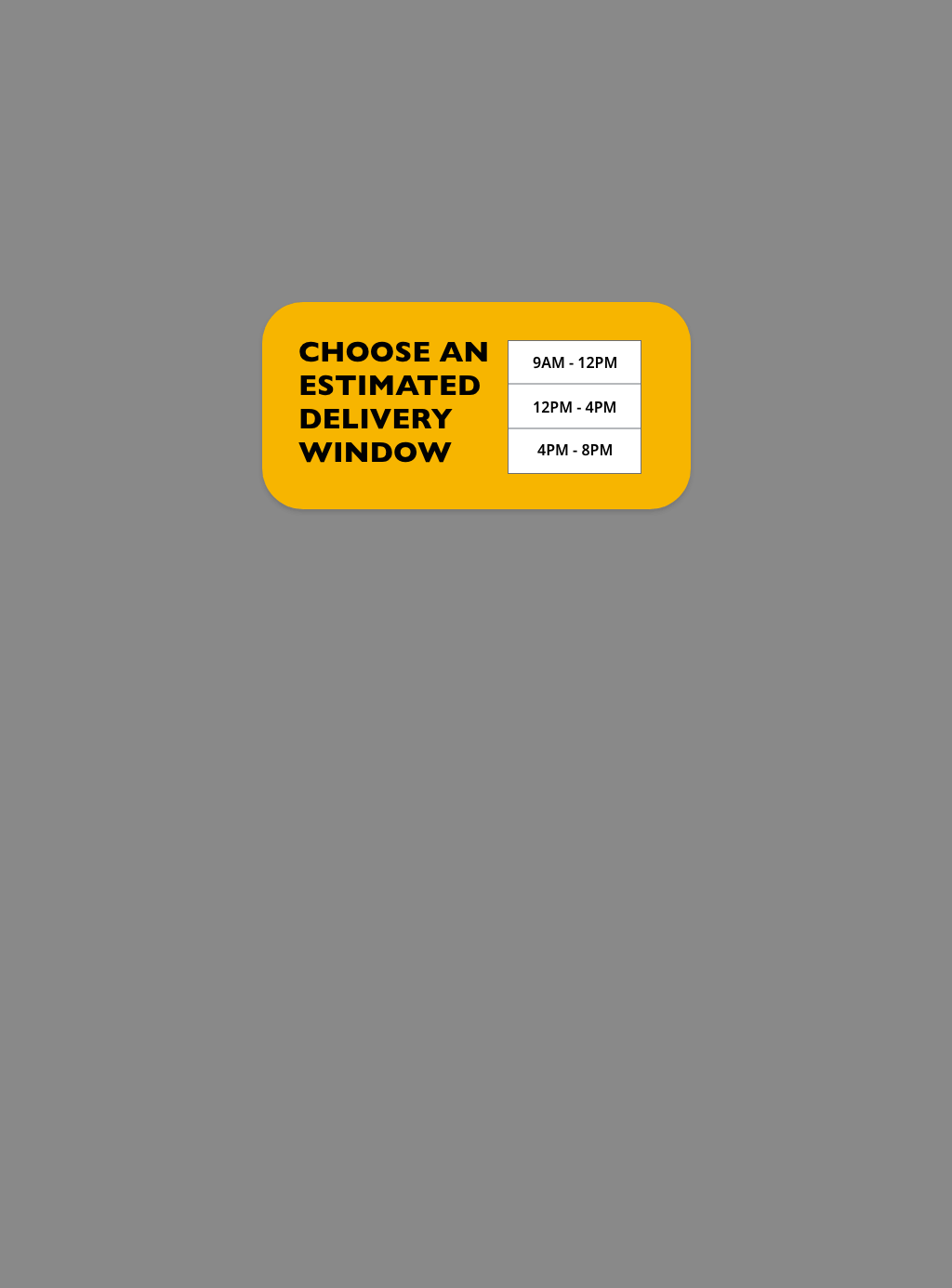 Choose a delivery time pop-up overlay