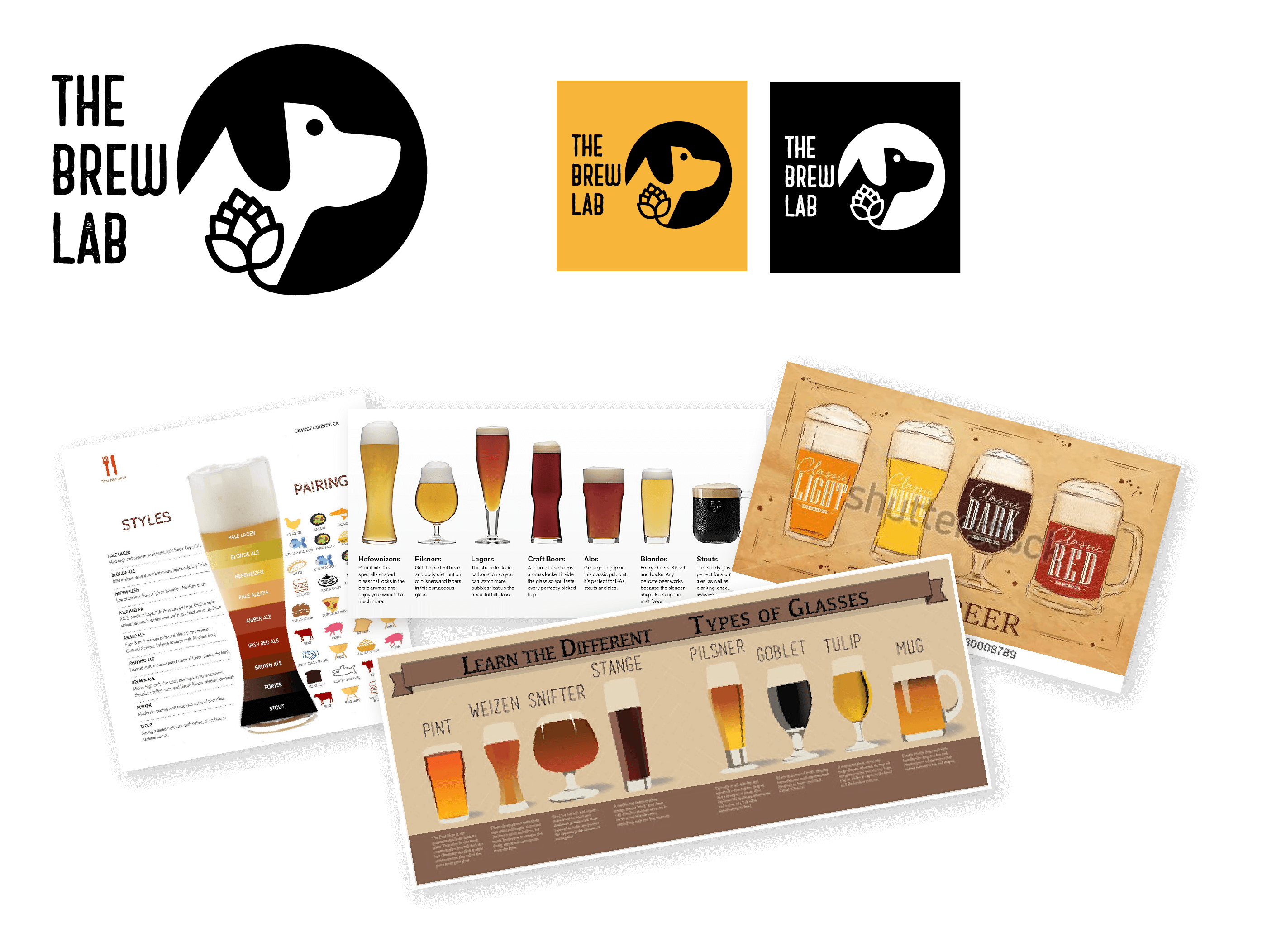 The Brew Lab logo black on white background, black on yellow background and white with black background. Below is a collage of types of beer used as design inspiration.