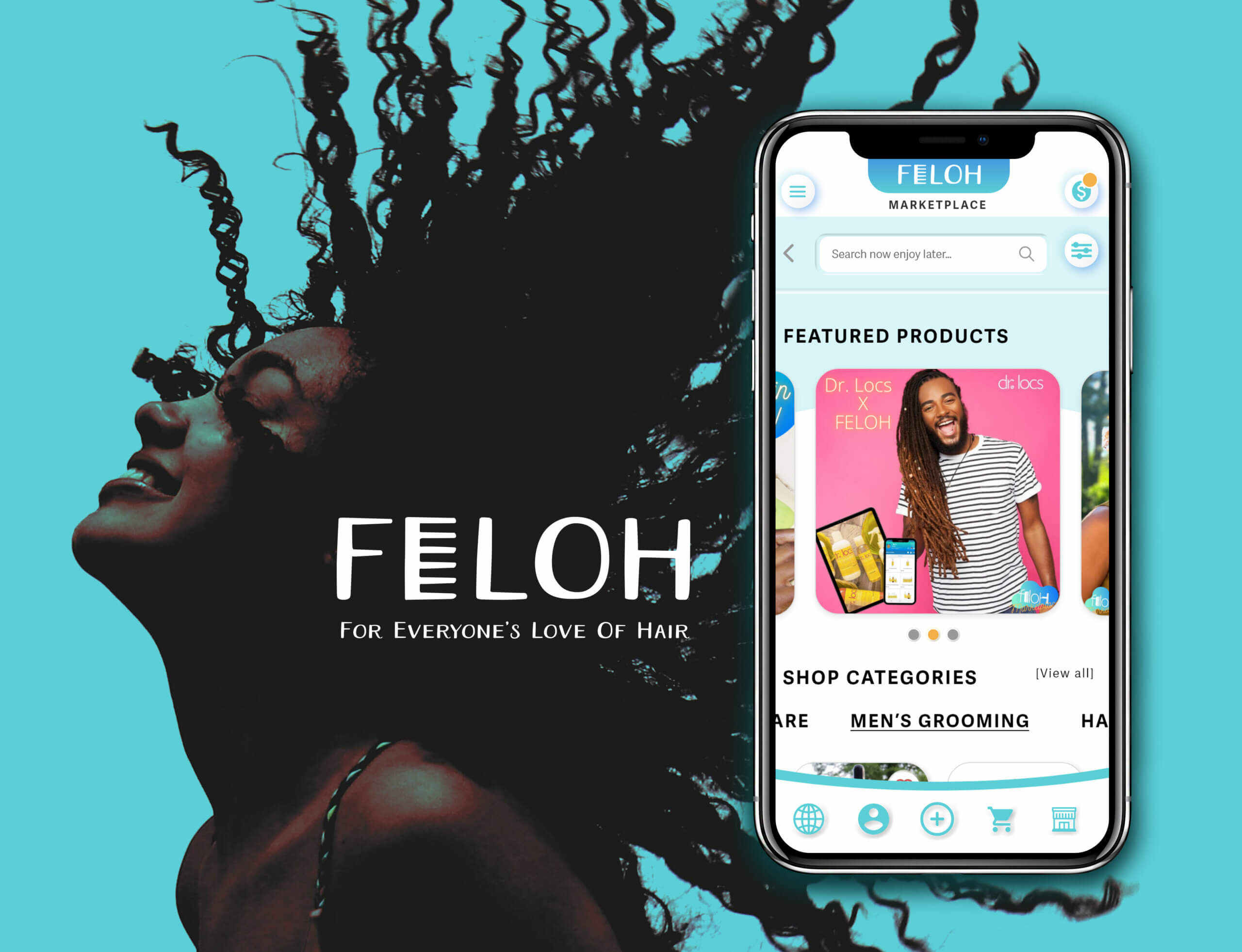 IOS mobile mockup of FELOH hompage with an image of women whipping her curly natural hair back on a light blue background