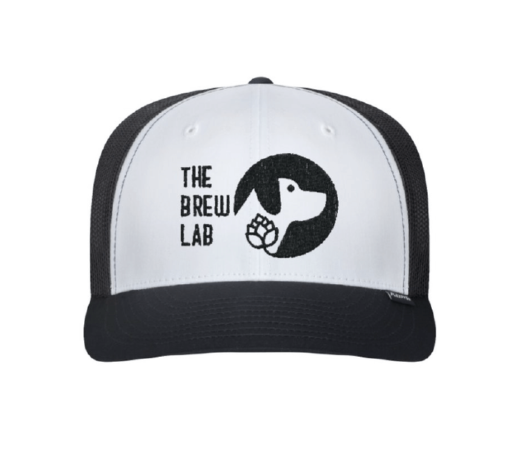black and white hat with The Brew Lab logo embriodred in black